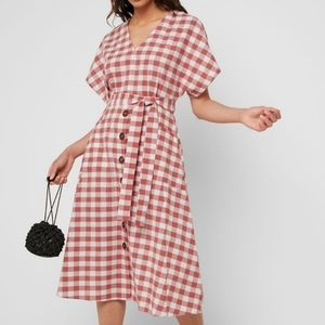 Mango plaid midi pleaded red white dress